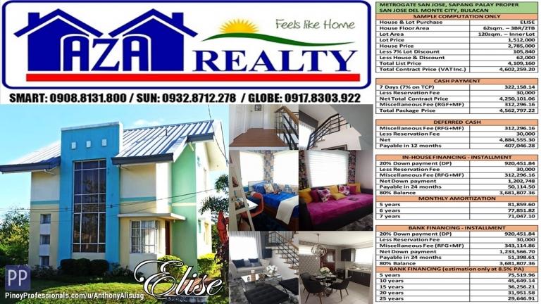 House for Sale - Metrogate San Jose 120sqm. Elise 3BR Single Attached Lofted San Jose Del Monte Bulacan