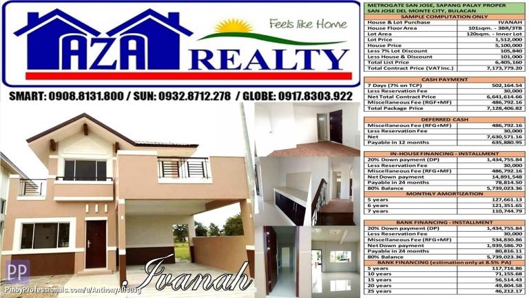 House for Sale - Metrogate San Jose 3BR Ivanah Single Detached 120sqm. San Jose Del Monte Bulacan
