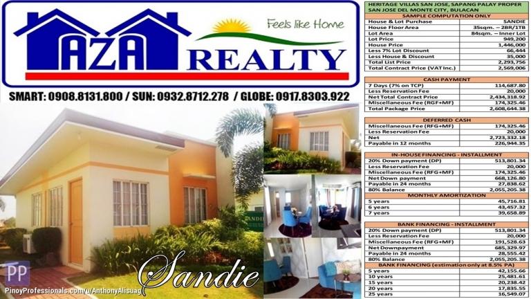 House for Sale - Heritage Villas San Jose 84sqm. Sandie Bungalow San Jose Del Monte Bulacan