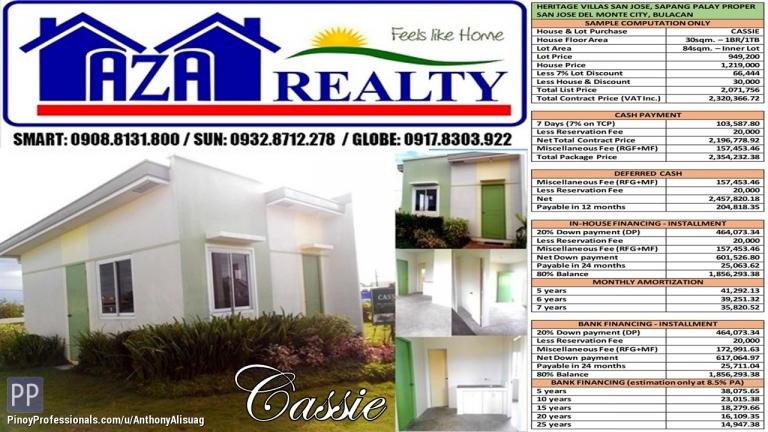 House for Sale - Heritage Villas San Jose 1BR Cassie 84sqm. Bungalow San Jose Del Monte Bulacan