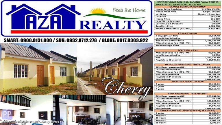 House for Sale - Heritage Villas San Jose 1BR 48sqm. Cherry Lofted Rowhouse San Jose Del Monte Bulacan
