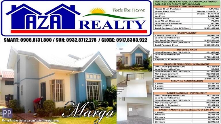House for Sale - Heritage Villas San Jose 96sqm. Marga 3BR Single Attached San Jose Del Monte Bulacan