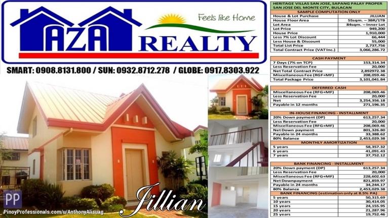 House for Sale - Heritage Villas San Jose 3BR Jillian Single Attached 84sqm. San Jose Del Monte Bulacan