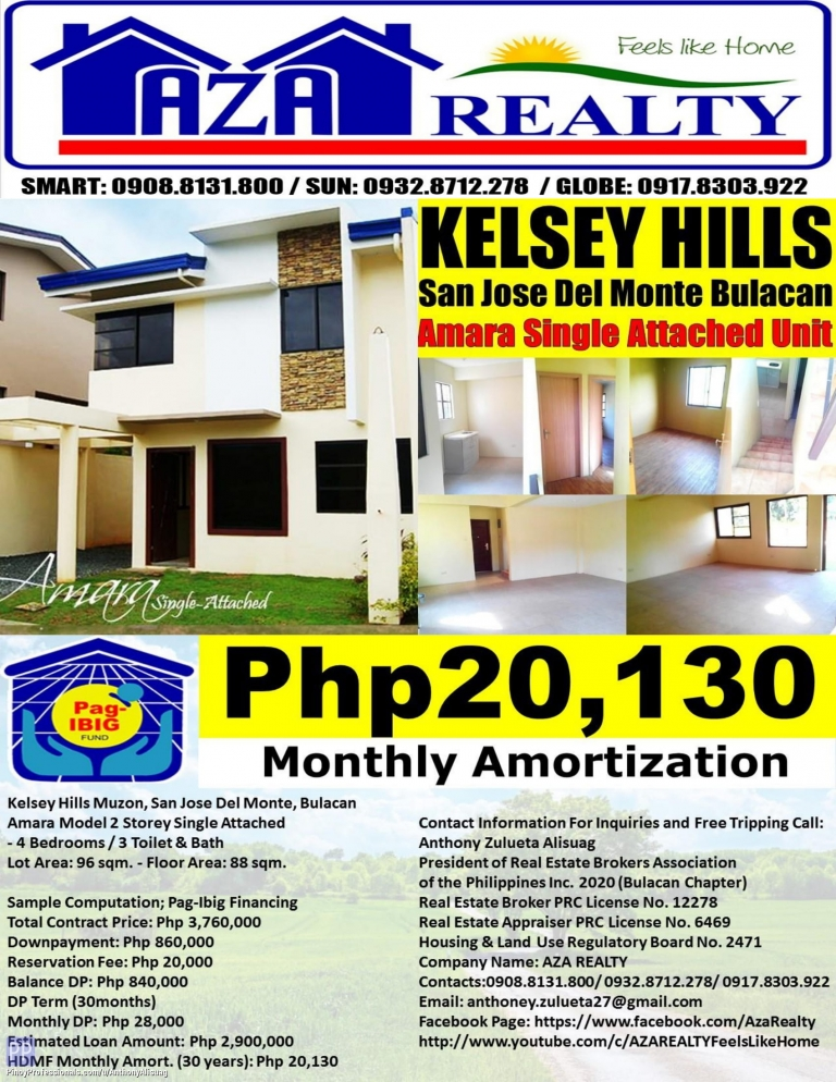 House for Sale - Php 20,130/Month Kelsey Hills 4BR Amara Single Attached 96sqm. San Jose Del Monte Bulacan