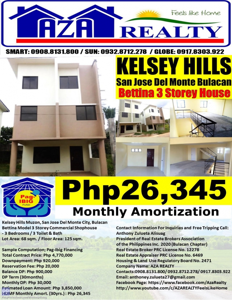 House for Sale - Php 26,345/Month Kelsey Hills 3BR Bettina 3 Storey Commercial Shophouse 125sqm. San Jose Del Monte Bulacan