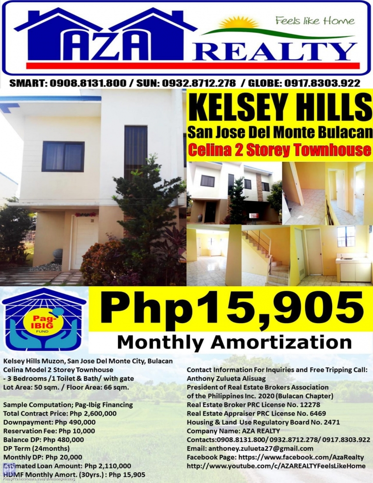 House for Sale - Php 15,905/Month Kelsey Hills 2BR Bea 66sqm. Townhouse San Jose Del Monte Bulacan