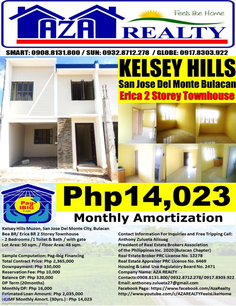 House for Sale - Php 14,023/Month Kelsey Hills 2BR Erica 2 Storey Townhouse San Jose Del Monte Bulacan