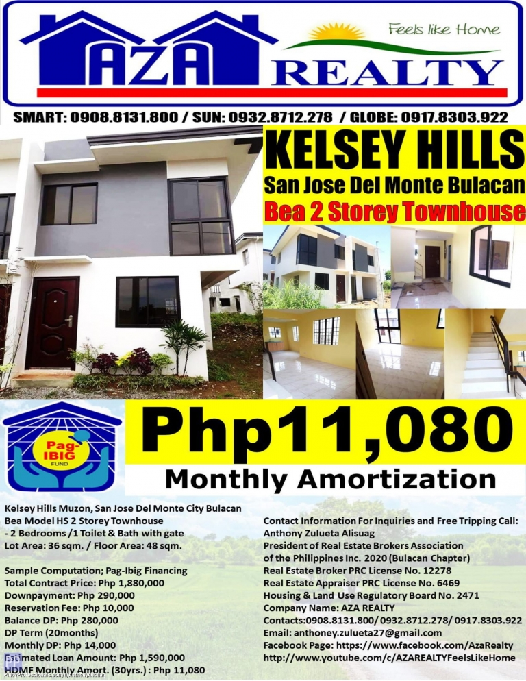 House for Sale - Php 11,080/Month Kelsey Hills 2BR Bea 48sqm. 2 Storey Townhouse San Jose Del Monte Bulacan