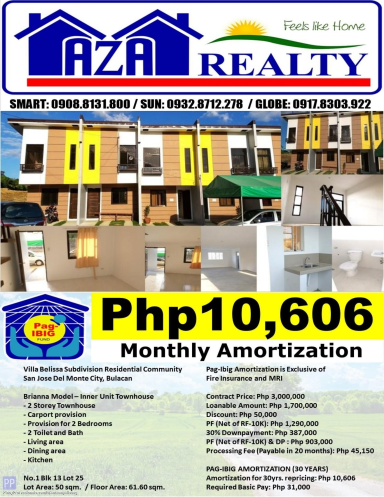 House for Sale - Php 10,606/Month Villa Belissa 2BR Brianna 61sqm. 2 Storey Townhouse San Jose Del Monte Bulacan