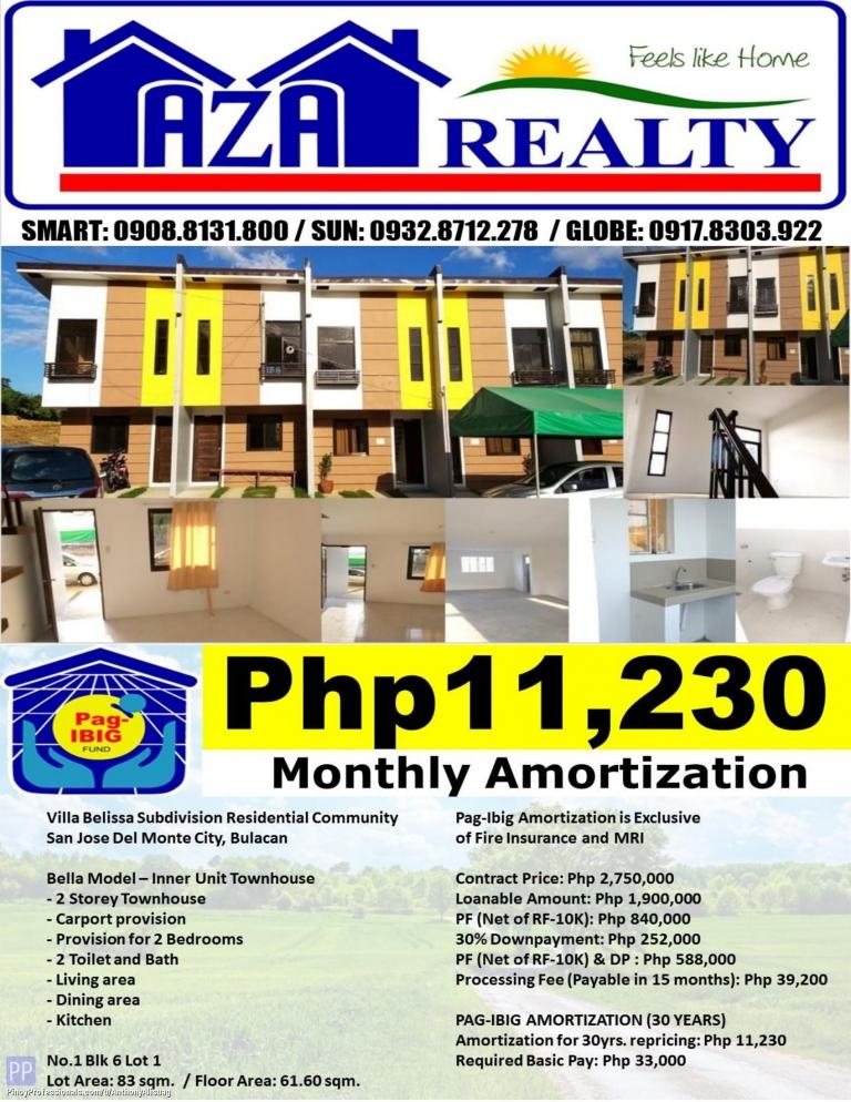 House for Sale - Php 11,230/Month Villa Belissa 2BR Bella 2 Storey Townhouse 83sqm. San Jose Del Monte Bulacan
