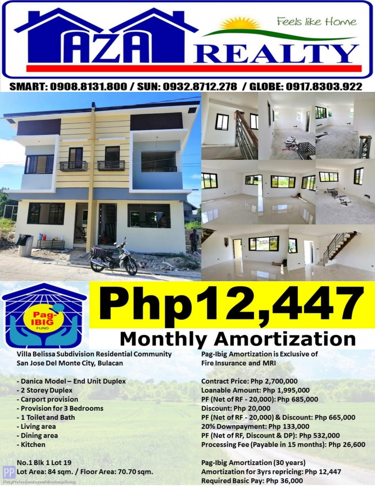 House for Sale - Php 12,447/Month Villa Belissa 3BR Danica Duplex 84sqm. San Jose Del Monte Bulacan