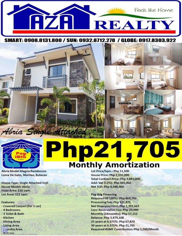 House for Sale - Php 21,705/Month 4BR Duplex House and Lot For Sale Abria Alegria Residences Marilao Bulacan