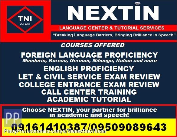 Education - NEXTIN Language Center and Tutorial Servces