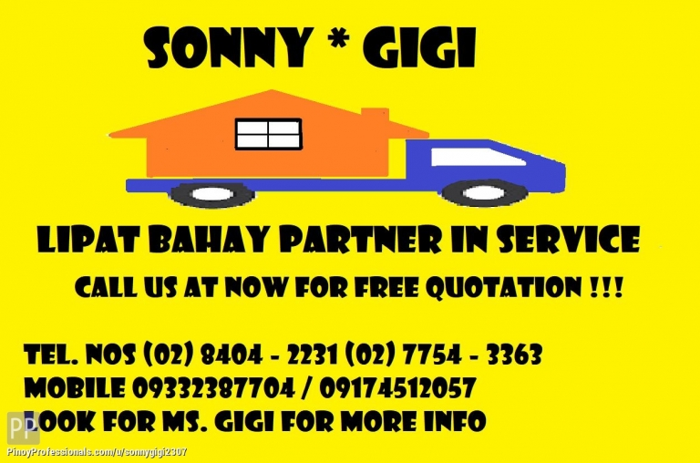 Moving Services - SONNY GIGI LIPAT BAHAY AND TRUCKING COMPANY