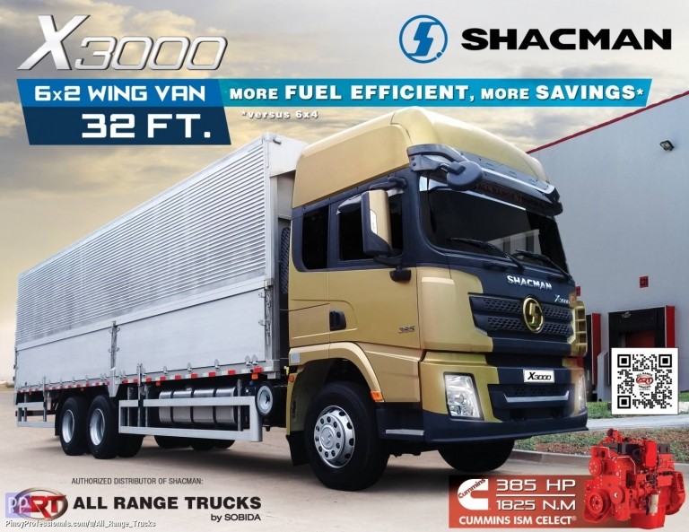 Trucks for Sale - Shacman X3000 6x2 Wing Van Rigid Truck 10 wheeler SX1256XXY4T583C