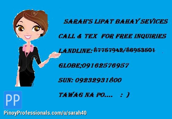Moving Services - SARAH'S LIPAT BAHAY AND TRUCKING SERVICES