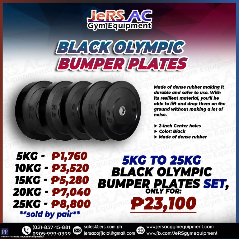 Sporting Goods - BLACK OLYMPIC BUMPER PLATES