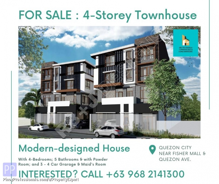 House for Sale - NEW 4-STOREY MODERN-DESIGNED TOWNHOUSE IN QC NEAR FISHER MALL AND QUEZON AVENUE