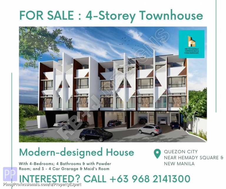 House for Sale - 4-STOREY TOWNHOUSE NEAR HEMADY SQUARE NEW MANILA WITH 4-BEDROOMS AND 4 CAR GARAGE