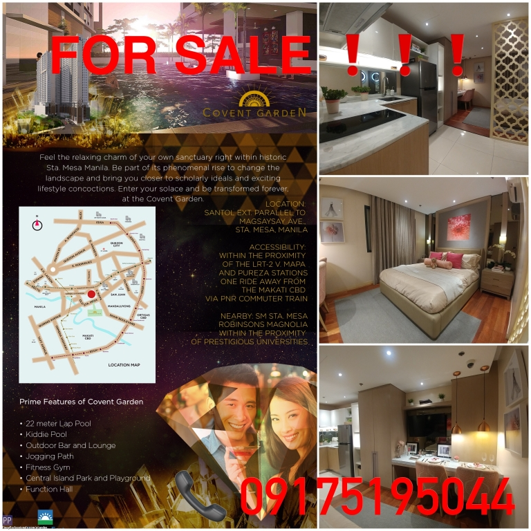 Apartment and Condo for Sale - FLOOD-FREE CONDO IN MANILA ACCESSIBLE TO UNIVERSITY BELT. COVENT GARDEN CONDOMINIUM. NO DOWNPAYMENT! LOW MONTHLY!