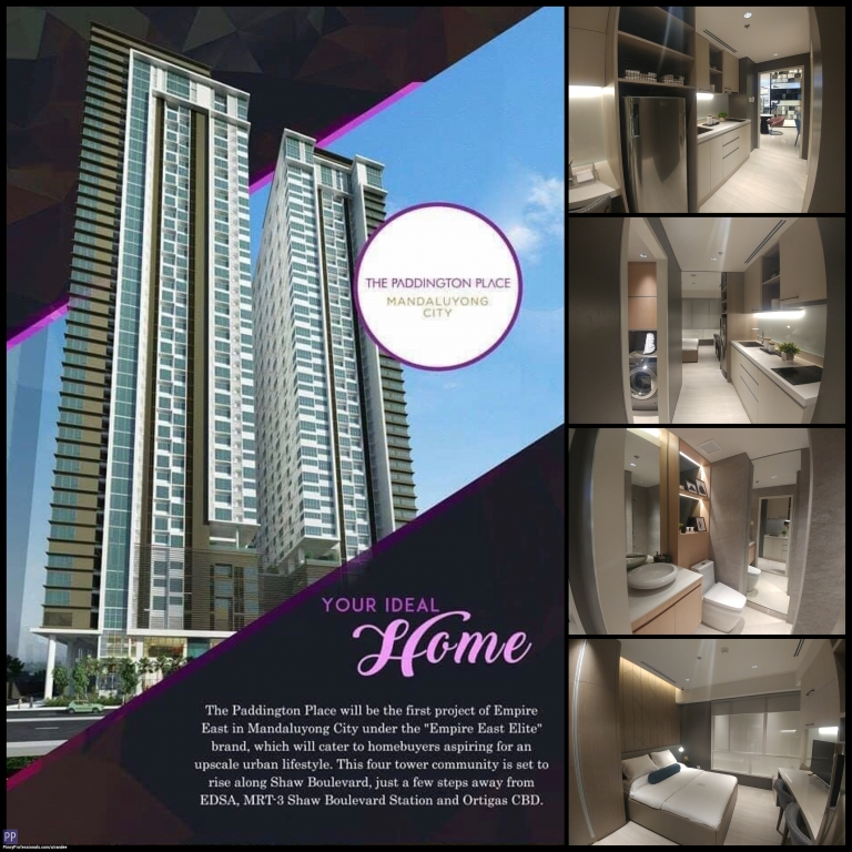Apartment and Condo for Sale - 2 BEDROOMS CONDO FOR SALE IN ORTIGAS CBD : THE PADDINGTON PLACE NEAR MRT-3 SHAW BLVD STATION AND METRO SUBWAY