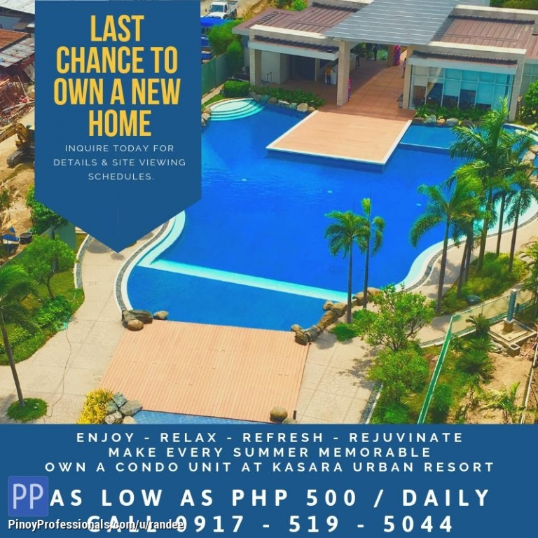 Apartment and Condo for Sale - PASIG RESORT-INSPIRED CONDO UNITS FOR SALE. NEAR TIENDISITAS, EASTWOOD AND ORTIGAS CENTER. NO DOWNPAYMENT!