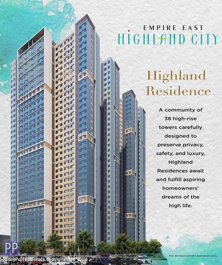 Apartment and Condo for Sale - HIGHLAND CITY CONDO IN PASIG-CAINTA FOR SALE. AS LOW AS 10,000 / MONTH. NO SPOT DOWNPAYMENT!