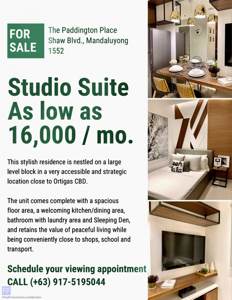 Apartment and Condo for Sale - NEW CONDO IN SHAW BLVD MANDALUYONG NEAR SM MEGAMALL. AS LOW AS 16,000 MONTHLY!