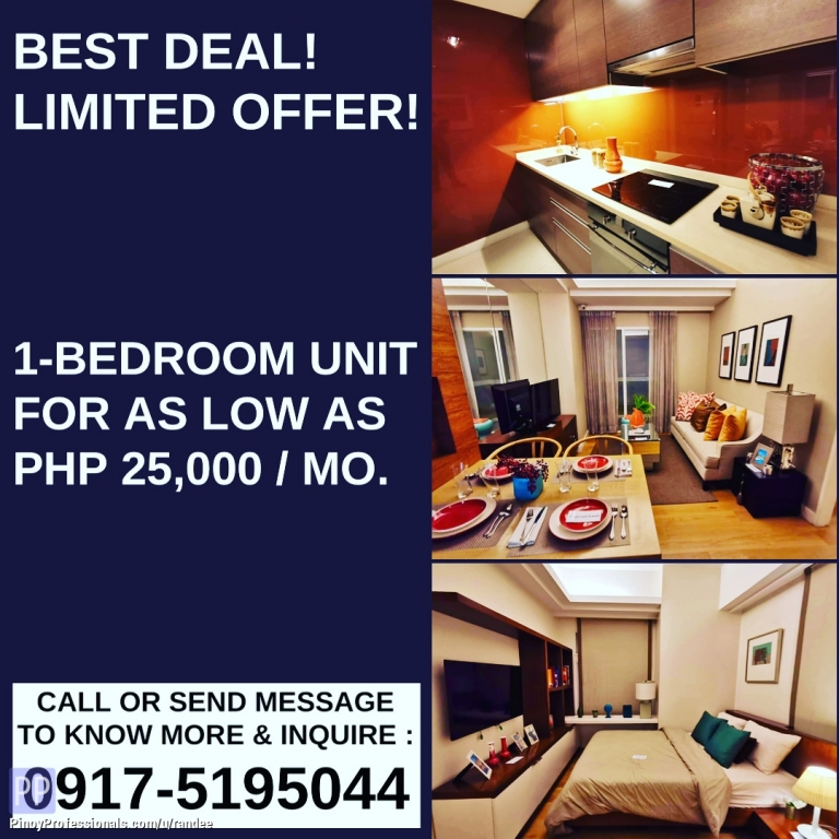 Apartment and Condo for Sale - THE PADDINGTON PLACE 1-BEDROOM CONDO UNIT FOR AS LOW AS 25,000 MONTHLY! NEAR SM MEGAMALL AND GREENFIELD DISTRICT UNILAB