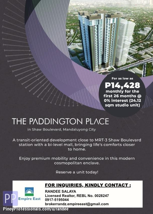 Apartment and Condo for Sale - PADDINGTON PLACE CONDO NEAR SM MEGAMALL AND MRT-3 EDSA SHAW STATION. NO DP!