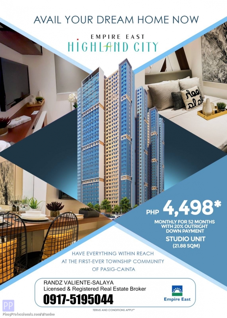 Apartment and Condo for Sale - EMPIRE EAST HIGHLAND CITY CONDO RISING IN PASIG-CAINTA. NEAR LRT-2 EMERALD STATION AND STA. LUCIA EAST MALL