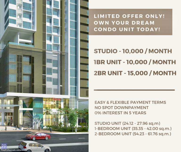 Apartment and Condo for Sale - OWN A STUDIO OR 1BR CONDO UNIT IN PADDINGTON PLACE MANDALUYONG FOR ONLY 10,000 MONTHLY! NO DOWNPAYMENT & FLEXIBLE PAYMENT TERMS!