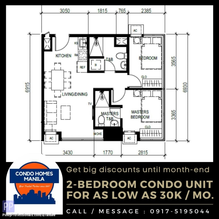 Apartment and Condo for Sale - 2-Bedroom Condo for Sale in Shaw Blvd. walking distance from MRT-3 and EDSA Shangri-La Plaza Ortigas