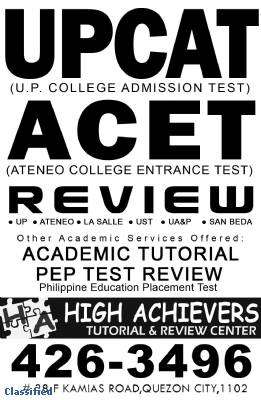 Specialty Services - 2012 UPCAT Review  / ACET  Review / college entrance test review