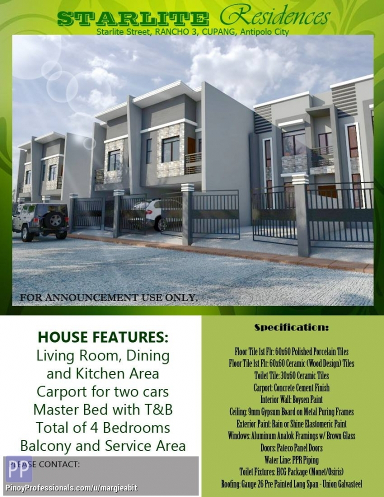 House for Sale - 4Bedrooms, 2T&B, 2Carport Pre Selling Townhouse in Rancho Estate III. Flood safe!