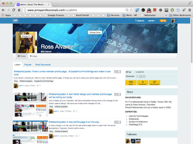 Blog - #WebsiteUpdate: There's a new member profile page... #UpdateYourProfilePage and make it look nice!